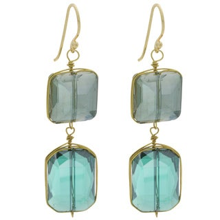 NEXTE Jewelry Goldtone Blue and Grey Crystal Flapper Dangle Earrings