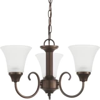 3-Light Single Tier Chandelier in Bell Metal Bronze Finish