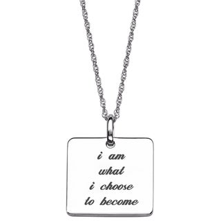Sterling Silver Life Sentiment Square Tag Necklace