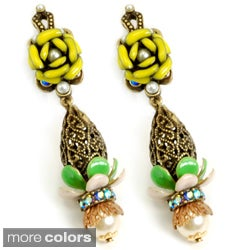 Sweet Romance Bronzetone Filigree Drop and Flower Earrings