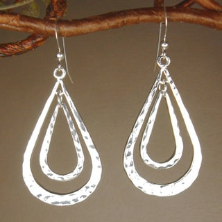 Double Teardrop Hammered Pewter Earrings