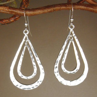 Jewelry by Dawn Double Teardrop Hammered Pewter Earrings