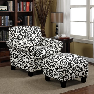 Portfolio Mira Black Medallion Arm Chair and Ottoman