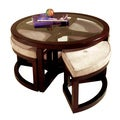 Juniper Mink Brown Wood Round Cocktail Table and 4-piece Stools Set