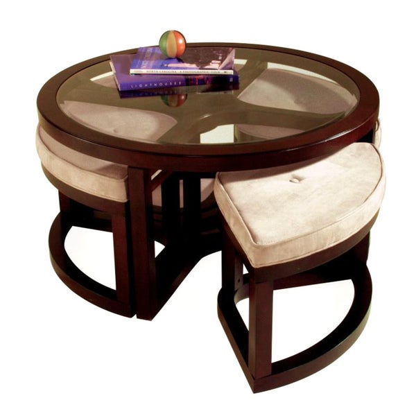 Juniper Mink Brown Wood Round Cocktail Table And 4 Piece Stools Set Overstock Shopping