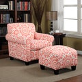 Portfolio Mira Orange Coral Medallion Arm Chair and Ottoman