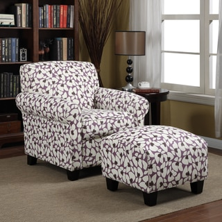 Portfolio Mira Amethyst Purple Modern Floral Arm Chair and Ottoman