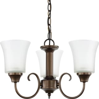 Holman 3-light Bell Metal Bronze Chandelier with Satin Etched Glass