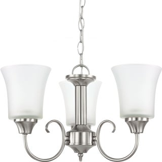 Holman 3-light Brushed Nickel Single Tier Chandelier with Satin Etched Glass