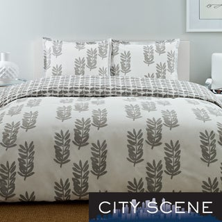City Scene Paloma Leaf Cotton 3-piece Reversible Comforter Set