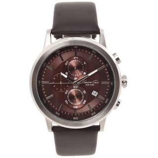Kenneth Cole New York Men's Brown Leather Strap Chronograph Watch