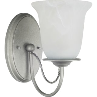 Plymouth 1-light Weathered Pewter Wall/Bath Sconce with White Alabaster Glass