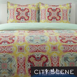 City Scene Juniper Paisley Cotton 3-piece Duvet Cover Set