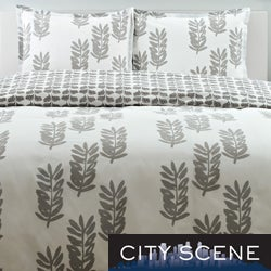 City Scene Paloma Leaf Cotton 3-piece Duvet Cover Set