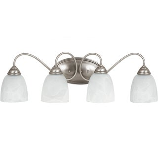 Lemont 4-light Antique Brushed Nickel Wall/Bath Vanity with White Alabaster Glass