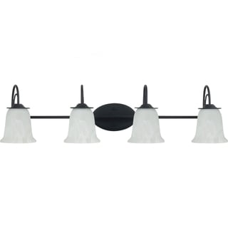 Plymouth 4-light Blacksmith Vanity Fixture with Sand Blasted Alabaster Glass