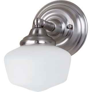 Academy 1-light Brushed Nickel Wall Sconce with Satin White Schoolhouse Glass