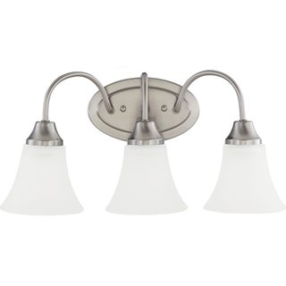 Holman 3-light Brushed Nickel Wall/Bath Vanity with Satin Etched Glass