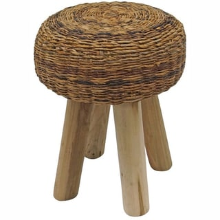 Rug Collective Brown Weave Wood Ottoman Stool