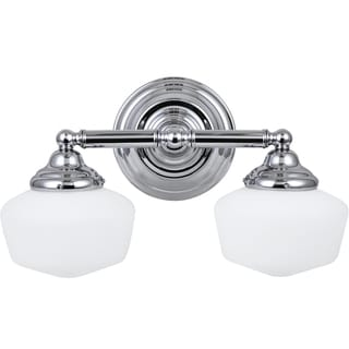 Academy 2-light Chrome Wall/Bath Vanity with Satin White Schoolhouse Glass