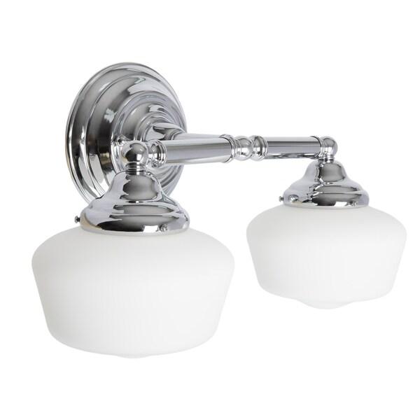 academy 2 light chrome wall bath vanity with satin white schoolhouse