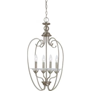 Lemont 4-light Antique Brushed Nickel Hall/Foyer Candelabra Pendant with Clear Glass Bobeches