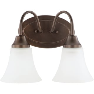 Holman 2-light Bell Metal Bronze Vanity Fixture with Satin Etched Glass