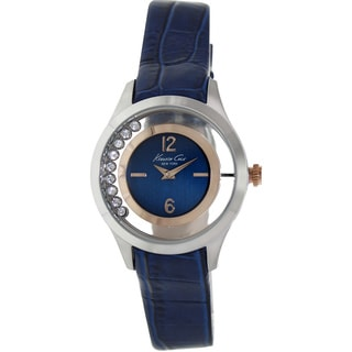 Kenneth Cole New York Women's Blue Leather Strap Cubic Zirconia Watch