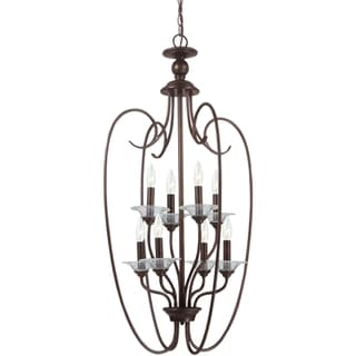 Lemont 8-light Burnt Sienna Candelabra Pendant with Clear Glass Bobeches