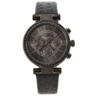 Kenneth Cole New York Women's Black Leather Strap Crystal Accented Watch