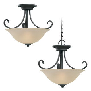 Del Prato 2-light Misted Bronze Ceiling Fixture