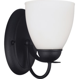 Uptown 1-light Blacksmith Wall/Bath Sconce with Satin Etched Glass
