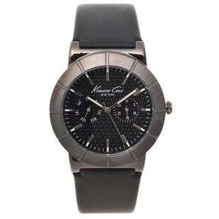 Kenneth Cole New York Men's Black Leather Strap Textured Dial Watch