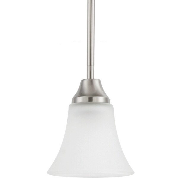 Holman Indoor One-Light Brushed-Nickel Mini-Pendant with Satin Etched Glass