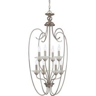 Lemont 8-light Antique Brushed Nickel Candelabra Foyer Pendant with Clear Glass Bobeches