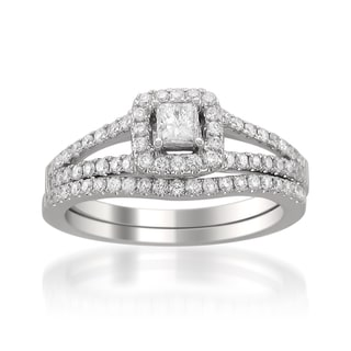 14k White Gold 3/4ct TDW Princess Diamond Bridal Set (H-I, SI2)