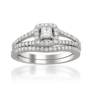 14k White Gold 3/4ct TDW Princess-cut Diamond Bridal Ring Set (H-I, SI2)