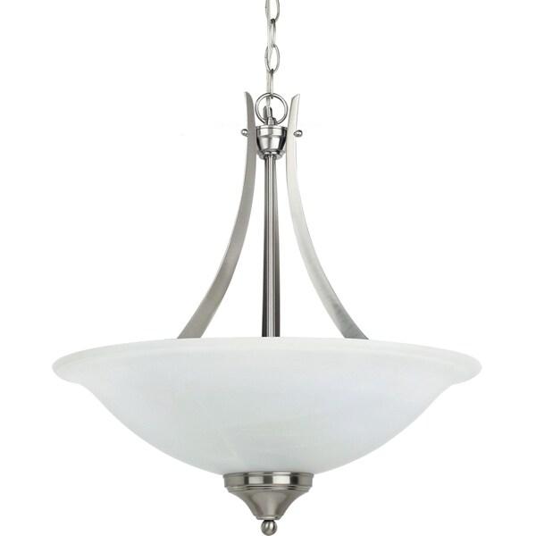 Brockton 3-light Brushed Nickel Uplight Pendant with White Alabaster Glass