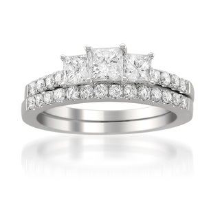 14k White Gold 1 1/2ct TDW Princess Diamond Bridal Ring Set (G-H, I1)