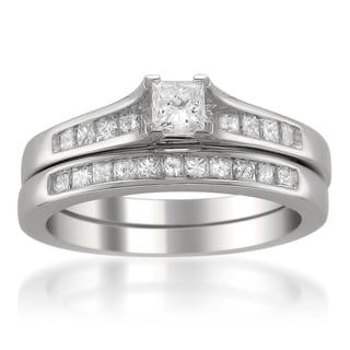 14k White Gold 7/8ct TDW Princess-cut Diamond Bridal Ring Set (G-H, SI2)