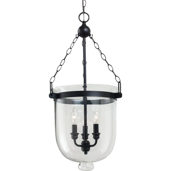 Westminster Large 3-light Autumn Bronze Indoor Pendant with Cloche Glass