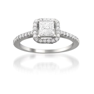 14k White Gold 1ct TDW Princess Diamond Halo Engagement Ring (H-I, SI2)