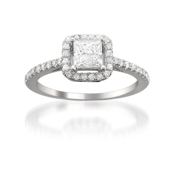 Montebello 14k White Gold 1ct TDW Princess Diamond Halo Engagement Ring (H-I, SI2)