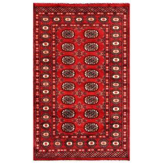 "Pakistani Traditional Hand-Knotted Bokhara Red/Ivory Wool Rug (3' x 5'1"")"
