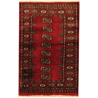 Herat Oriental Pakistani Hand-knotted Bokhara Red/ Ivory Wool Rug (2'7 x 4'2)