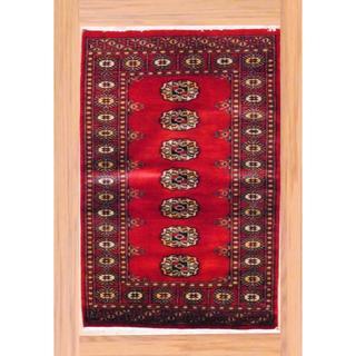 Herat Oriental Hand-knotted Pakistani Bokhara Red/ Ivory Wool Rug (2'8 x 4')