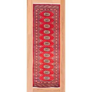 Pakistani Hand-knotted Bokhara Red/ Ivory Wool Rug (2'1 x 6'3)