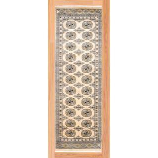 Pakistani Hand-knotted Bokhara Ivory/ Gray Wool Rug (2'1 x 6'5)