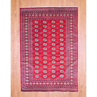Pakistani Hand-knotted Bokhara Red/ Ivory Wool Rug (6'1 x 9')