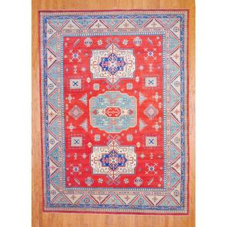 Afghan Hand-knotted Kazak Red/ Ivory Wool Rug (8'9 x 12'1)